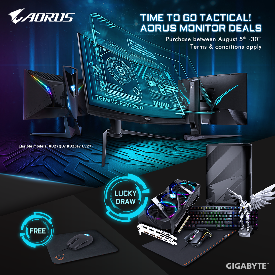 TIME TO GO TACTICAL!  BUY AORUS TACTICAL GAMING MONITOR AND WIN AN AORUS RTX 2060, AORUS LUGGAGE AND MORE!